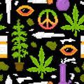 Pixel art game style medical marijuana objects weed seamless vector pattern black