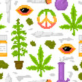 Pixel art game style medical marijuana objects weed seamless vector pattern white