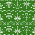 Pixel art game style sweater weed leaf seamless vector pattern Royalty Free Stock Photo