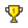 Pixel art golden cup award trophy icon