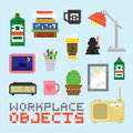 Pixel art isolated office tools vector set style Royalty Free Stock Photo