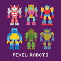 Pixel art isolated robots vector set Royalty Free Stock Photo