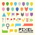 Pixel art  navigation vector icon set Royalty Free Stock Photo