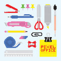 Pixel art office tools vector set style Royalty Free Stock Images