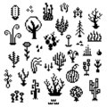 Pixel art plants, 8 bit monochrome vegetation icons, retro styled living nature elements, various fantastic herbs sprites