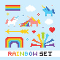Pixel art rainbow vector set Royalty Free Stock Photo