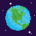 Pixel art retro arcade game planet earth vector illustration Royalty Free Stock Photo