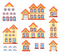 Pixel art a set of houses in Royalty Free Stock Photography