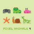 Pixel art style animals cartoon vector set 4 Royalty Free Stock Photo