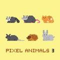 Pixel art style animals cartoon vector set 3 Royalty Free Stock Photo