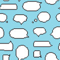 Pixel art style speech bubble seamless vector pattern blue Royalty Free Stock Photo