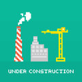 Pixel art under construction vector Royalty Free Stock Photo