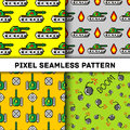 Pixel art vector objects to Fashion seamless pattern. Background with tanks, boom, for boys. trendy 80s-90s style