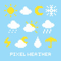 Pixel art weather set