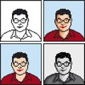Pixel avatar icon vector illustration of student Stock Photo