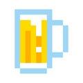 Pixel beer glass template vintage brewery sign symbol