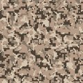 Pixel camo. Seamless digital camouflage pattern. Military texture. Brown desert color