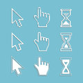 Pixel cursors and outline icons: mouse hand arrow hourglass. Royalty Free Stock Photo