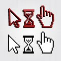 Pixel d cursors icons hand arrow hourglass Stock Photo