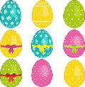 Pixel easter egg set with ribbons and bows Stock Photography