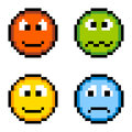 Pixel emotion icons angry sick happy sad isolated on white emotions depicted in format anger sickness happiness and sadness Royalty Free Stock Photography