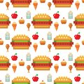 Pixel art food computer design seamless pattern background vector illustration restaurant pixelated element fast food Royalty Free Stock Photo