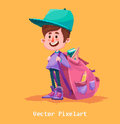 Pixel Funny Boy.  on yellow background. Vector illustration. Royalty Free Stock Photo