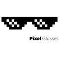 Pixel glasses vector icon