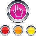 Pixel hand round button. Royalty Free Stock Images