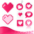 Pixel Heart Design Kit Royalty Free Stock Images