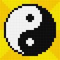 Pixel kunst met bits yin yang symbol Royalty-vrije Stock Afbeelding