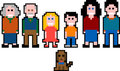 Pixel people - family Royalty Free Stock Photos