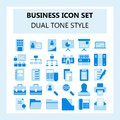 Set of 30 Business and Office Icon, Flat style with Dual tone color,