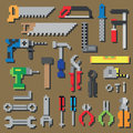 Pixel repair and construction working tools pixel icon set in vector