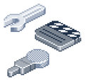 Pixel retro style isometric icons some in view spanner or wrench film clapper board and microphone Royalty Free Stock Photography