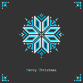 Pixel snowflake christmas card with beautiful on dark background Royalty Free Stock Photos