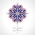 Pixel snowflake minimalistic greeting card with beautiful Royalty Free Stock Photo