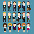 Pixel suits set of art office people in vector illustration Stock Images