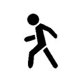 Pixel symbol pedestrian black on white background Stock Images
