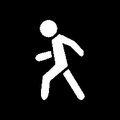 Pixel symbol pedestrian white on a black background Stock Photo