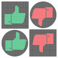 Pixel thumb icons like icon dislike icon hand gestures very good very bad vector illustration for your web sites design banners Royalty Free Stock Photo