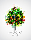 Pixel tree concept image of a technology with pixels in the crown and roots formed by semiconductor tracks eps vector image Stock Photo