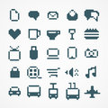 Pixel web icons collection blue Royalty Free Stock Photography