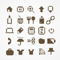 Pixel web icons collection brown Royalty Free Stock Image