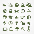 Pixel web icons collection green set Stock Photos