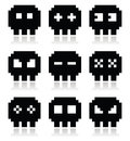 Pixelated bit skull icons set cartoon black pixel on white Stock Photo