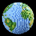 Pixelated earth concept digital technology made of glossy cubes isolated on black Royalty Free Stock Photos
