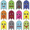 Pixelated  emoticons inspired  by 90's vintage video computer  games showing vary emotions with stroke Royalty Free Stock Photo