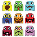Pixelated Hipster emoticons  inspired  by 90's vintage video computer  games showing vary emotions with stroke Royalty Free Stock Photo
