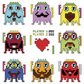 Pixelated hipster robot emoticons with simple hitting ball game with a heart shape inspired by 90's computer games showing differe Royalty Free Stock Photo